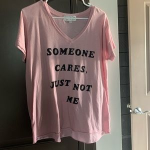 WILDFOX SOMEONE CARES JUST NOT ME PINK TSHIRT MED